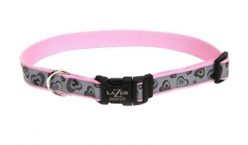 Lazer Brite® Reflective Adjustable Collar -Pink New Hearts